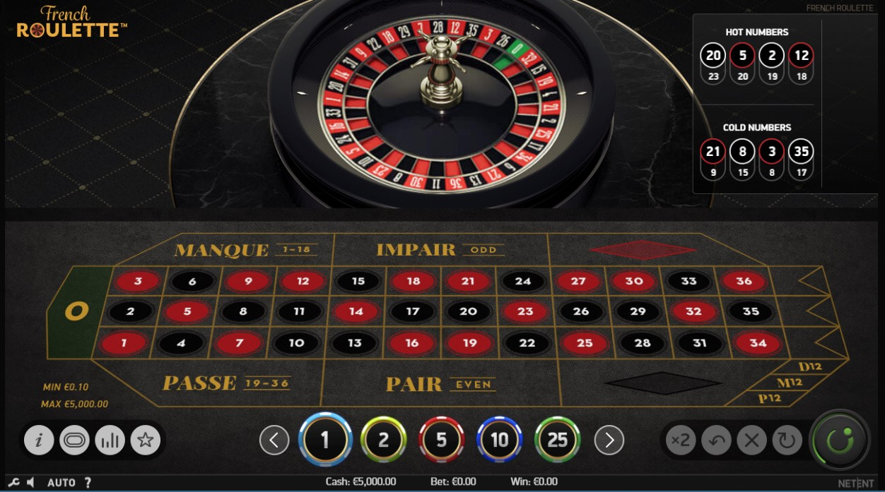 French roulette table and wheel